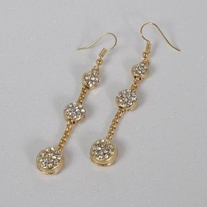 New Gold Tone Three Tier Crystal Drop Earrings